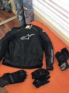 AlpineStars Leather Jacket + 3x Gloves Arndell Park Blacktown Area Preview