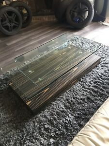 Mobilia Modern Wood Bent Glass Floating Coffee Table