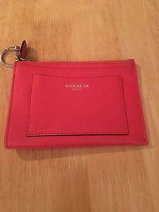 Leather Authentic Coach  Change purse with key Ring