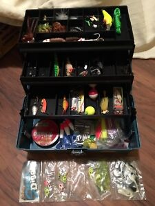 Vintage Plano tackle box with old lures
