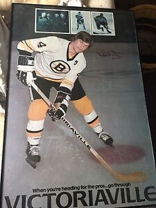 Bobby Orr signed poster Boston Bruins
