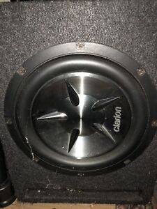 "Clairion 10"" car sub woofer with enclosure."