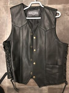 Vest , leather motorcycle