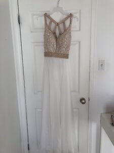 Gold, Champagne and White Size 10 Prom Dress