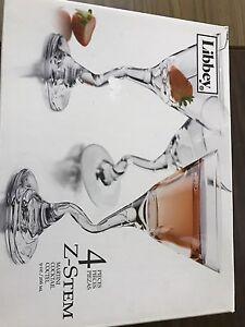 Set of 4 Z Stem Martini Glasses