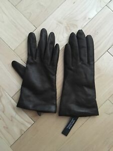 Brown leather Lord and Taylor gloves, cashmere lined, never worn