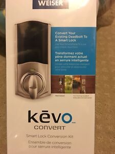 Weiser Kevo Convert keyless door lock. Satin nickel