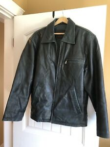 Men's blue-black leather jacket