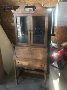 Antique writers desk with glass cabinet