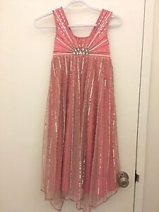 Pink beaded sparkly kids dress