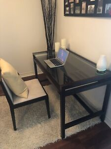CONDO MOVING SALE: CRATE AND BARREL WOOD/GLASS DESK & CHAIR