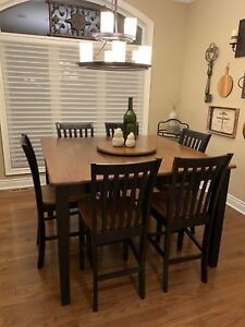 Versatile Pub/Counter Height Solid Wood Dining Set - Seats 8