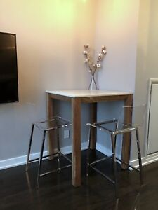 CB2 marble dining table counter height