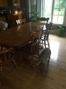 Cherry wood dinning room table and buffet and hutch