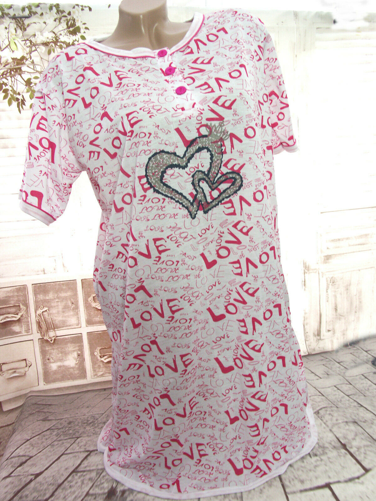 8677e702f957b3 Damen Kurzarm NACHTHEMD Nachtwäsche Schlafshirt Pyjama LOVE HERZEN  Weiß/Pink Neu*