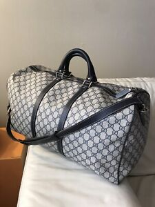 100% Authentic Gucci Supreme GG Navy Duffle Keepall 55