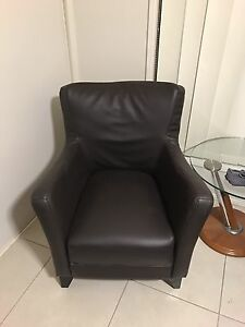 Leather single seater dark brown as new Ashmore Gold Coast City Preview