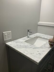Vanity Carrera Marble top with Undermount White sink -