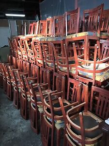 Second hand restaurant chairs, tables, banquets on sale