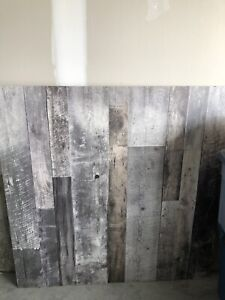 4 Decorative Wood Wall Panels; brown and grey