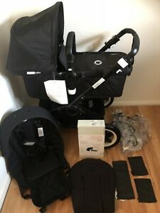 Bugaboo Buffalo AB Pram Stroller Brand New Leather Covers New Black Se