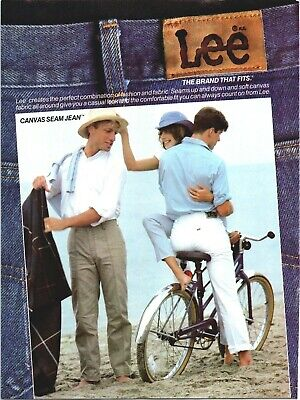 Lee Jeans Canvas Seam Denim 80s Fashion Bicycle Beach 1985 Vintage Print Ad