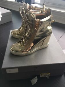 Auth Giuseppe Zanotti Women's Wedge Sneakers Shoes Gold Size 36
