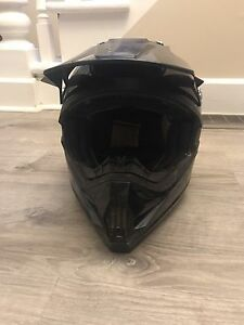 Dirt bike helmet and goggles