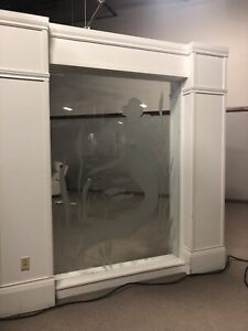 Etched glass partitions