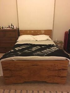 simple elegant vintage wooden double bed Brunswick Moreland Area Preview