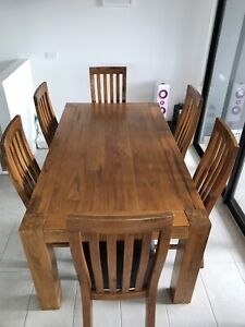 Dining table and six chairs with leather seating Altona Hobsons Bay Area Preview
