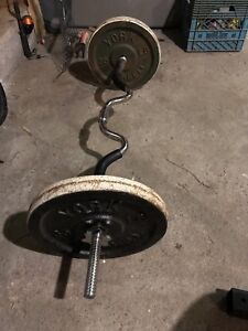 EZ curl bar and 2 35lbs plates