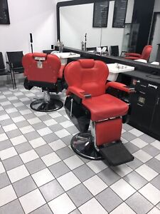 Deluxe red barber chairs