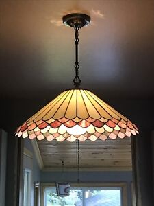 2 STAINED GLASS HANGING LAMPS