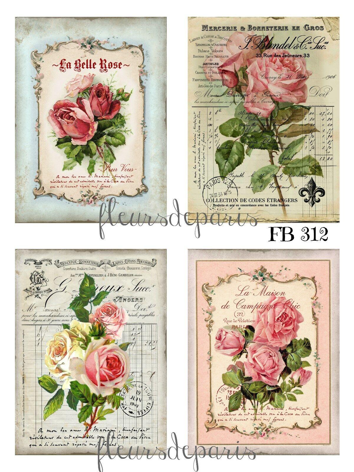 PARIS ROSES FLOWERS BON JOUR PINKS WHITES COTTON FABRIC FQ