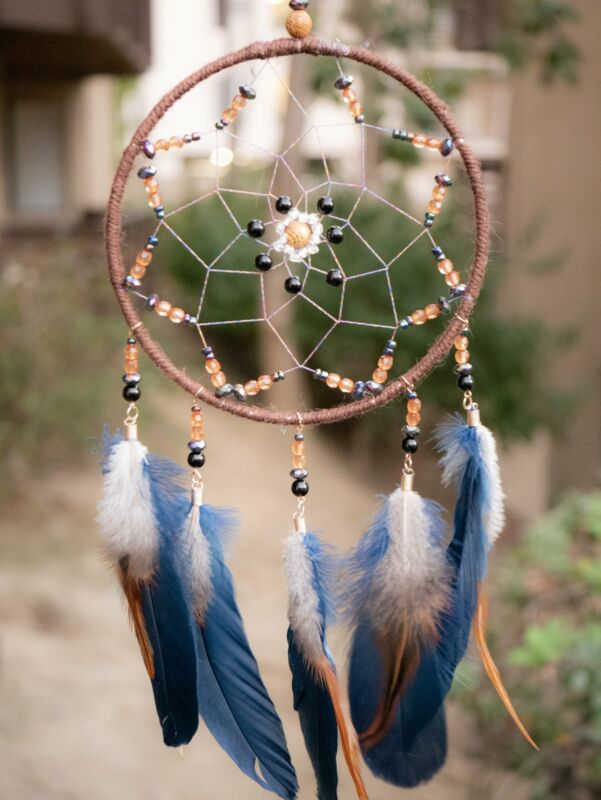 Bright Blue Feathered Native American Dream Catcher Dreamcatcher Wall Hanging