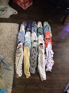 0-3 (23) and 3-6 (4) month old boy outfits.