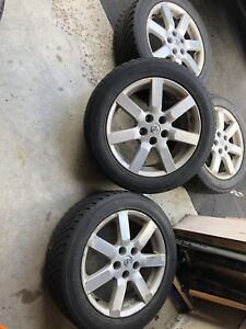 Nissan Altima 17 inch alloy wheels with winter tires