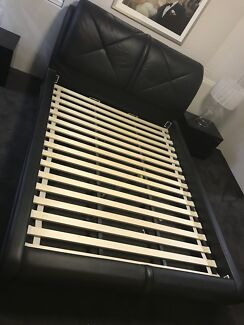 Queen leather bed frame.