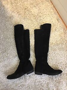 Knee high black sued boots from Le chateau