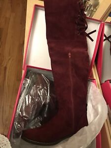 Burgundy thigh high boots size 11 NWT