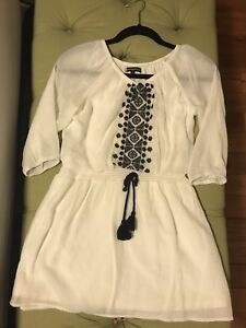 Girls white with black accents dress / long shirt