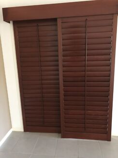 Timber plantation sliding door shutters
