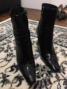 L'Intervalle Patent Black Leather Ankle Boots
