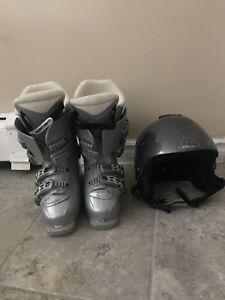 Ski boots and helmet