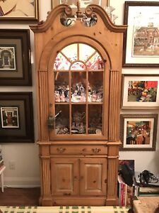 Pine display and storage cabinet