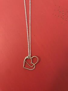 Double heart silver and gold necklace