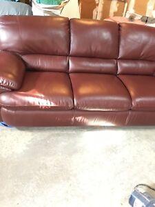 Natuzzi Leather couches + Ottoman