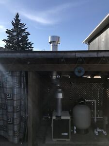 Pool heater and chimney assembly
