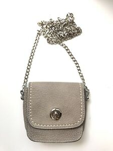 Roots Grey Pebble Leather Purse